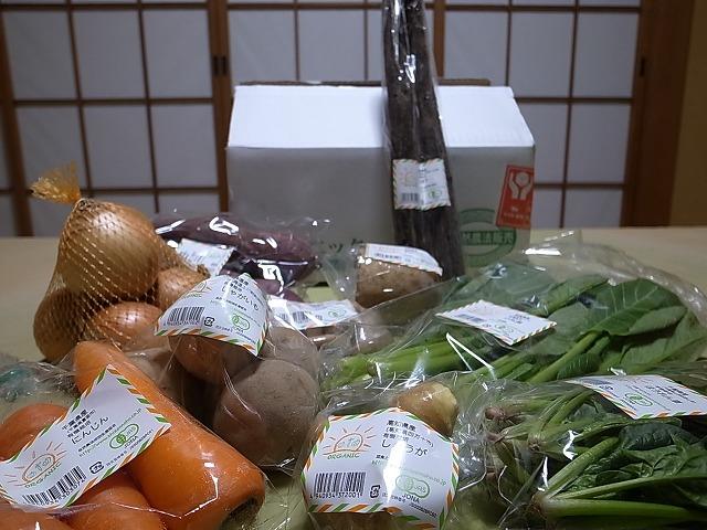 オーガニックガーデンの有機野菜10種類セットと三上さんの有機栽培りんご